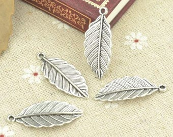 Feather Pendant - Set of 10 - 30mm - Silver Plated - Jewelry Making
