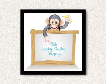 Shh Cheeky Monkey Sleeping Nursery Print/Door sign