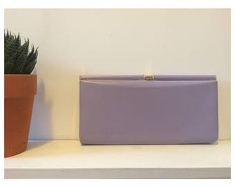Classic Vintage 1980s Clutch Evening Bag Pastel Lilac & Gold