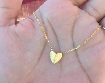 Folded Heart Pendant necklace