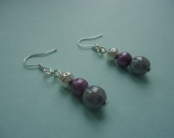 Silver and lilac beaded earrings