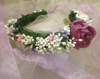 Wedding crown, floral crown, bride headpiece, purple rose wedding, purple bridal crown,
