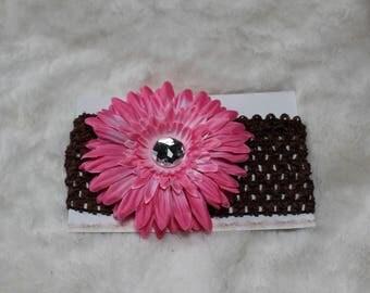 Baby/Toddler black & Pink Gerber Daisy Crochet Headband with Silver Rhinestone