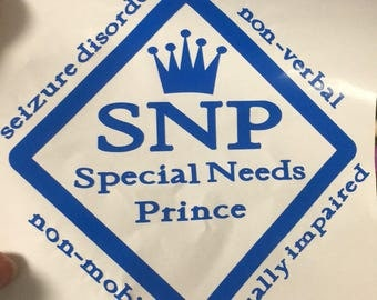 Special Needs Prince Decal