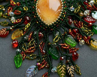 Multicolor necklace Green necklace Beaded necklace Seed bead necklace Colorful handmade Jewelry Beadwork necklace Aventurine Quartz jewelry