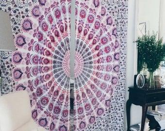 Pink Medallion Mandala Curtains