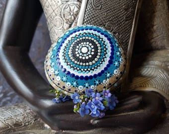 Gift idea, summer garden decoration trend, mandala stone, home decoration