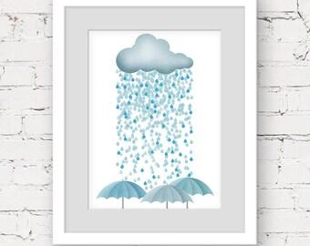 rain cloud art print, instant download printable art, scandinavian kids art, cloud neutral nursery, rain cloud printable cloud art printable