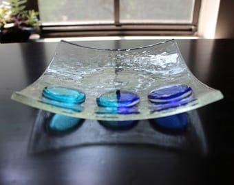 Clear square 6x6 fused glass sushi plate dish with blue/turquoise glass decorations