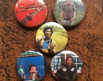 """TOWNES VAN ZANDT 1"""" Button/Badge Set! Vintage pins - Gram Parsons, Steve Earl, Willie Nelson"""