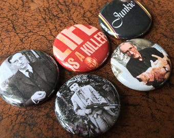 """WILLIAM S BURROUGHS 1"""" Button/Badge set! Hunter Thompson, Junky, Naked Lunch, Soft"""
