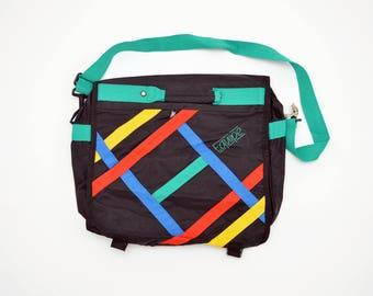 80s/90s neon EQUIPE office carry case / laptop bag / fold over / beach bag / messenger bag / cross body strap / school bag / file