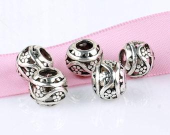 5 pcs Tibetan Silver Flower Spacer Bead, Silver Flower Charm bead, USA Seller, Beading Supplies,