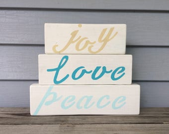 Love joy peace handpainted wood sign