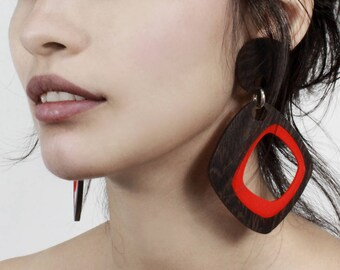 Wenge Hardwood with Red interior statement Earrings