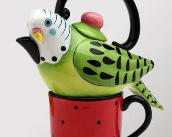 Bird Tea for One Set -  Green Parakeet on Red Cup (61541)