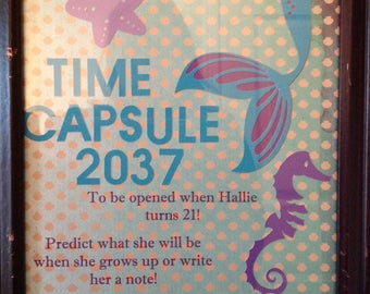 Time Capsule Poster For Mermaid or Under The Sea Theme Party