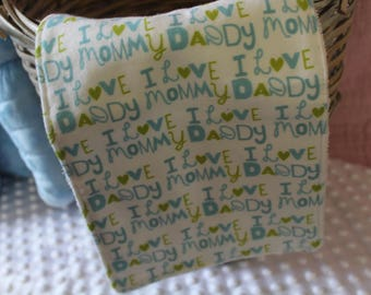 I love Daddy, I Love Mommy Burp Rag