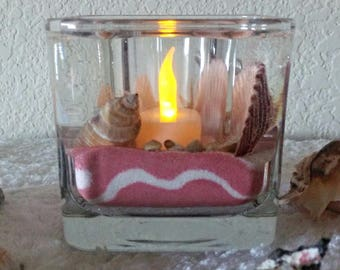 Salmon Swirl Seahell Candle