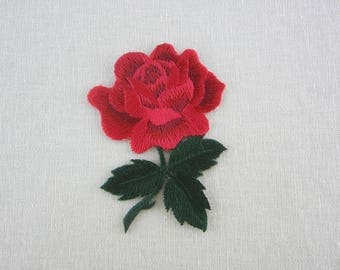Red Rose Patch, Iron On Flower Patches