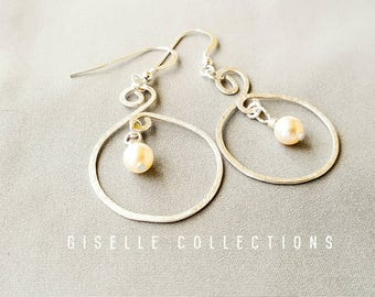 Hoop earrings, spiral earrings, Pearl earrings, Drop earrings, Silver hammered earrings, Gifts for her, Girlfriend gift, Under 30