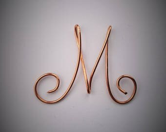 Initial letter M pendant copper name