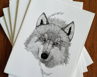 Gray Wolf Original Ink Art Note Card (5 cards)