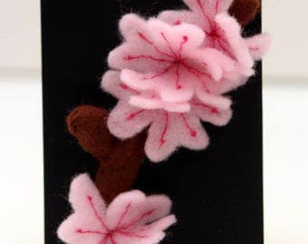 Pink Blossom Felt Brooch on Branch