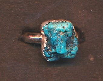 Beautiful Turquoise Nugget and Sterling Silver Ring ~ Size 8.5