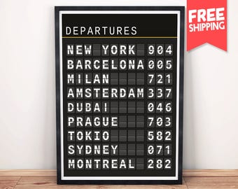 Travel Art Print, Train Board Print, Departures Art Print, Quote Flip Board, Board Print, Custom Airport board, Customized flight board