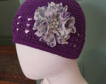 Baby kids crotchet embellished beanie/flower hat
