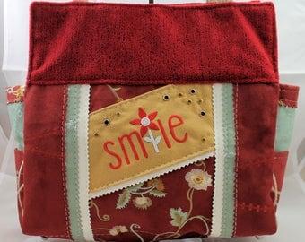 Smile Upcycled Embroidered Handbag