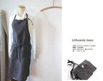 Linen apron Charcoal Grey linen 100% [MY BEST APRON]