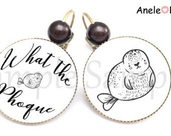 Earrings woman What the seal - black white