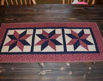 Patriotic Americana Quilted Table Runner