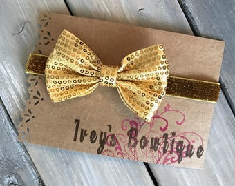 Gold sequin with gold glitter elastic adjustable headband