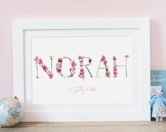 Personalised Floral Name Photographic Flower Print