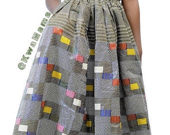Ankara maxi dress, low cut neckline, Ankara prom dress, Sleeveless summer dress