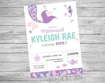 Mermaid Birthday Invitation, Mermaid Invitation, Birthday Party, Under the Sea, Purple and Teal, Mermaid, DIGITAL FILE CUSTOM 5x7