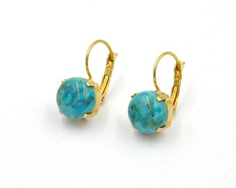 Earrings hanging earrings, turquoise, turquoise cabochon earrings, gemstone earrings, boho earrings, yellow gold, gold, hangemachter jewelry