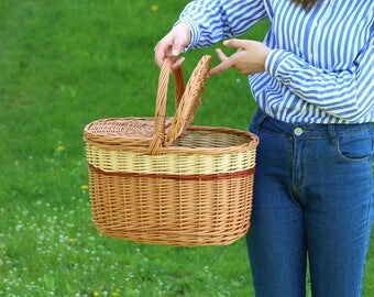 Big Picnic Basket, Handled Basket, Picnic Basket, Shopping Basket, Storage Basket, Wicker Basket, Large Basket French, Country Decor, Countr