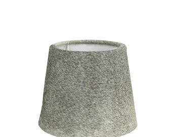 Cowhide Lampshade: fur lamp shade diameter of 20-25 cm, 100% real fur grey
