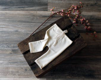 Ivory sitter pants - photography prop - soft cotton with pretty detailing and a hand dyed chiffon silk tie
