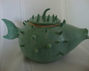 Glazed Stoneware Blow Fish Teapot