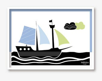 Children's illustration pirate ship Mural art print