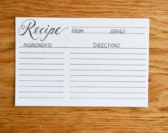 Calligraphy Recipe Cards   Set of 12   Gift   4x6   Hand Lettered