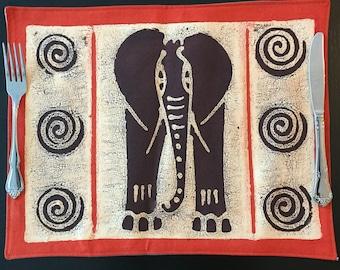 African Placemat, Elephant African Placemat, Zimbabwe Batik