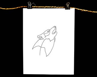 Single Line Drawing - Wolf Howl