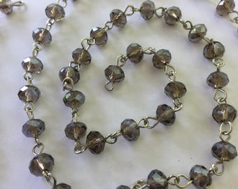 """39"""" Grey Faceted Glass Chain 3 x 5mm"""