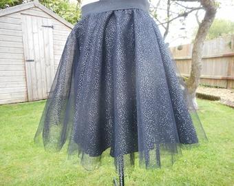 Black Tulle sparlke skirt with elastic waistband